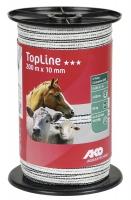 TopLine Plus Weidezaunband 200 m x 10 mm weiß-schwarz