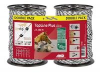 TopLine Plus Weidezaunlitze Doppelpack 300 m weiß-schwarz